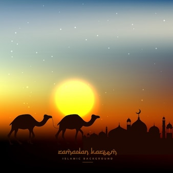 Ramadan kareem background in evening sky with sun