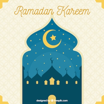 Ramadan kareem background with arabic window view