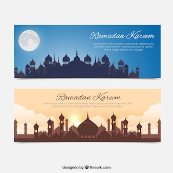 Ramadan kareem banners with mosque