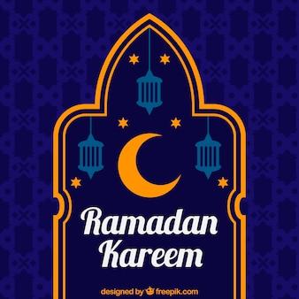 Ramadan kareem blue background