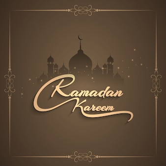 Ramadan kareem design with frame and mosque