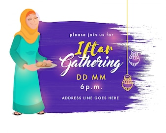 Ramadan Kareem, Iftar Gathering invitation card design, Abstract brush stroke background with illustration of Muslim Woman serving food