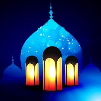 Ramadan kareem illustration with lanterns