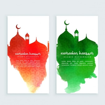 Ramadan kareem red and green vertical banners