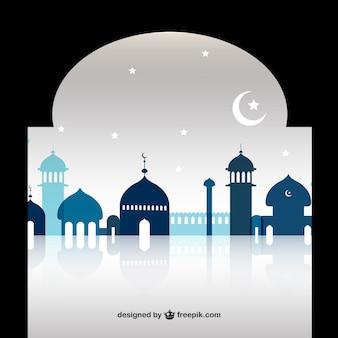 Ramadan mosque silhouettes