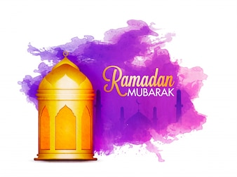 Ramadan mubarak background with abstract stain and golden lantern