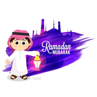 Ramadan mubarak background with smiling kid