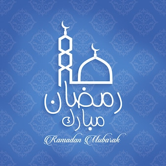 Ramadan mubarak card on blue pattern background