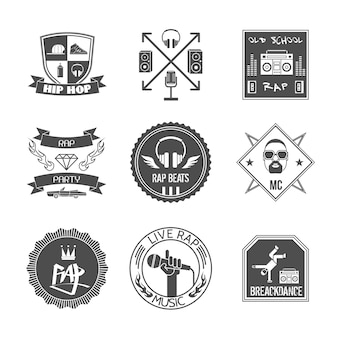Rap music hip hop party beats label set isolated vector illustration
