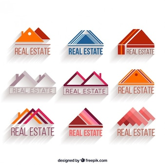 Real estate logos triangle shaped set