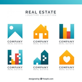 Real estate logotypes in colors