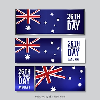 Realistic Australia Day Banners Collection