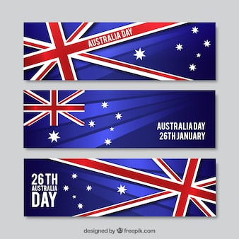 Realistic Australia Day Banners Set