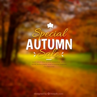 Realistic autumn sale with blurred effect