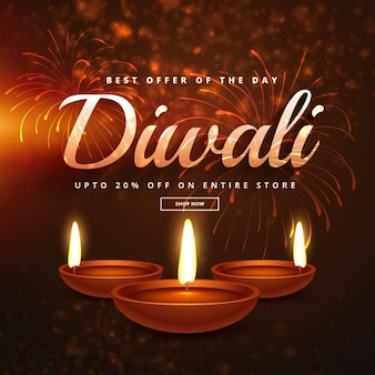 Realistic background for diwali discounts