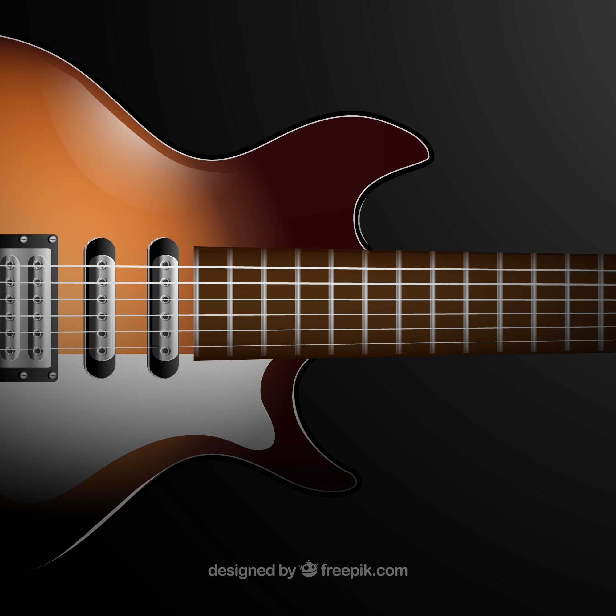 Realistic background of electric guitar