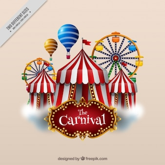 Realistic background of marquees and ferris wheels