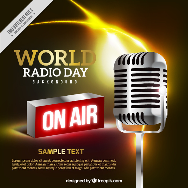 Realistic background of megaphone for world radio day