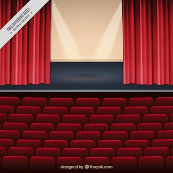 Realistic background of theater stage