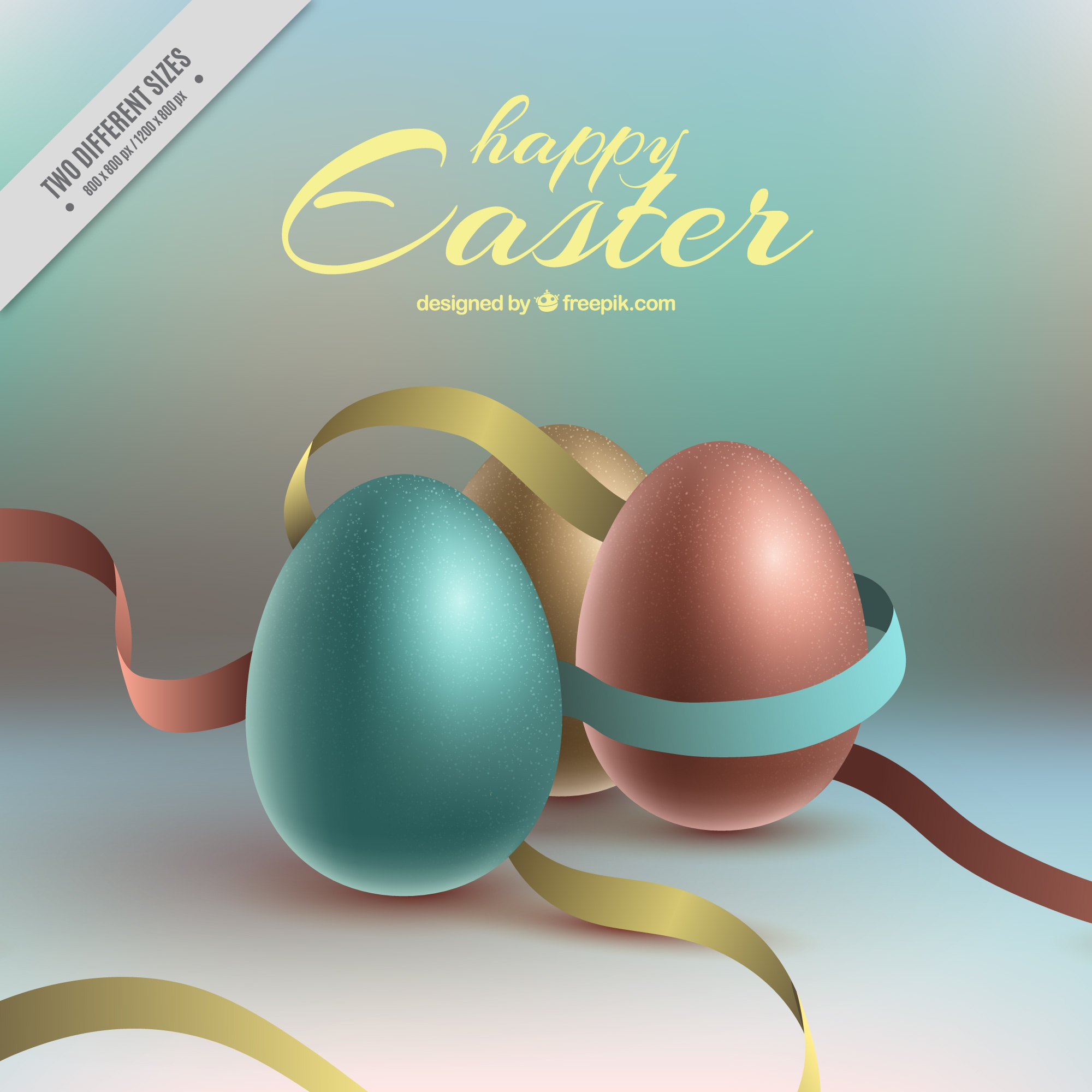 Realistic background with easter eggs and ribbons