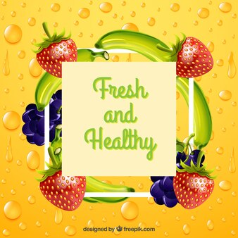 Realistic background with healthy fruits