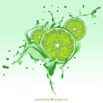 Realistic background with lime slices