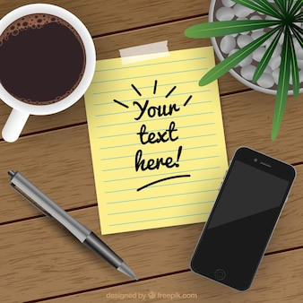 Realistic background with paper note next to mobile phone and cup of coffee