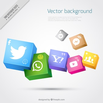 Realistic background with social media icons