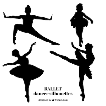 Realistic ballet dancer silhouettes