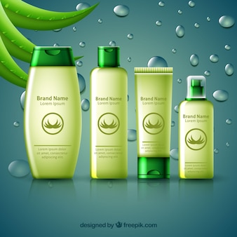 Realistic banner aloe vera products