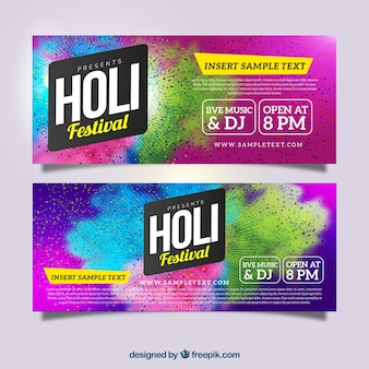 Realistic banners for holi festival