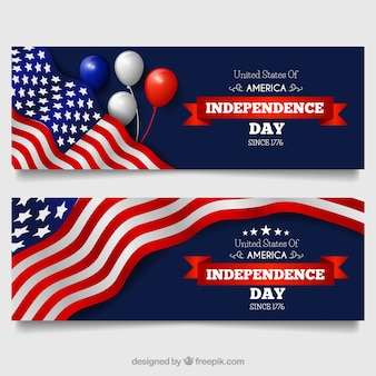 Realistic banners for independence day