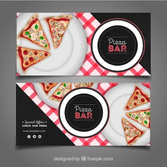 Realistic banners of dishes with pizzas