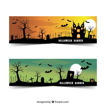 Realistic banners with cemetery and bats