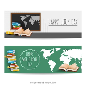 Realistic banners with world map and books