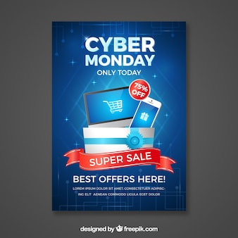Realistic blue cyber monday poster template