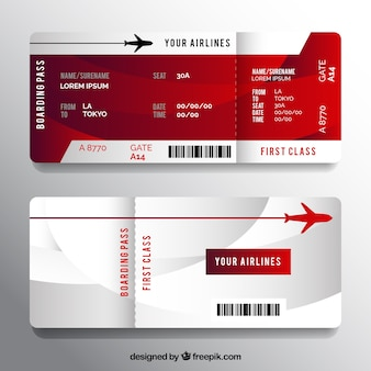 Realistic boarding pass with wavy forms