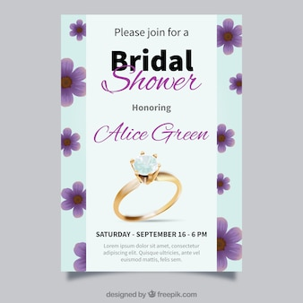 Realistic bridal shower invitation with ring and flowers
