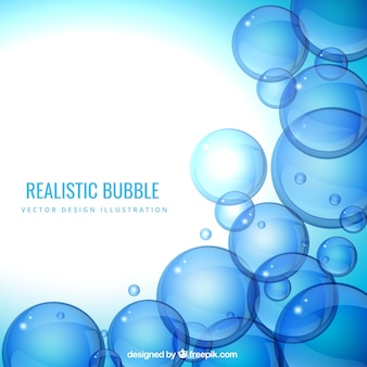 Realistic bubbles background in blue tones