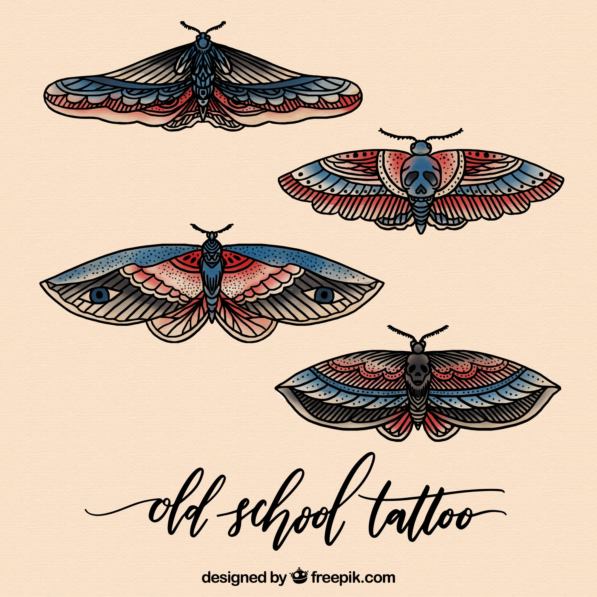 Realistic butterfly tattoos pack