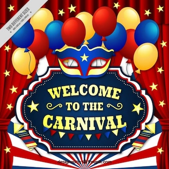 Realistic carnival background with colorful balloons