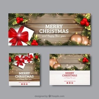 Realistic christmas banners in different sizes