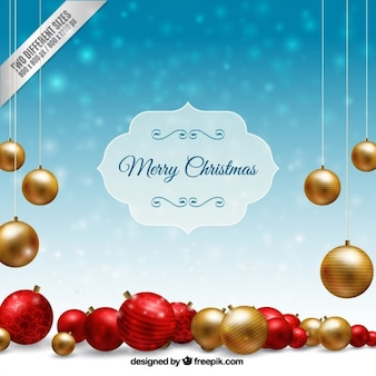 Realistic christmas baubles background