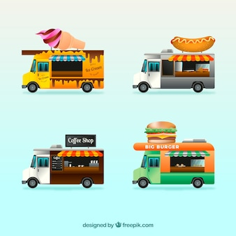Realistic collection of traditional food trucks