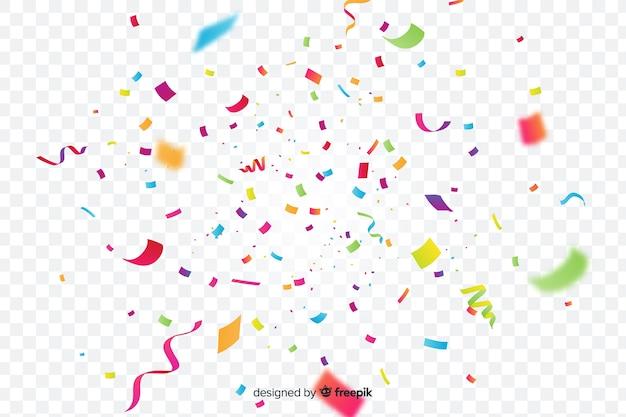 Realistic colorful confetti background