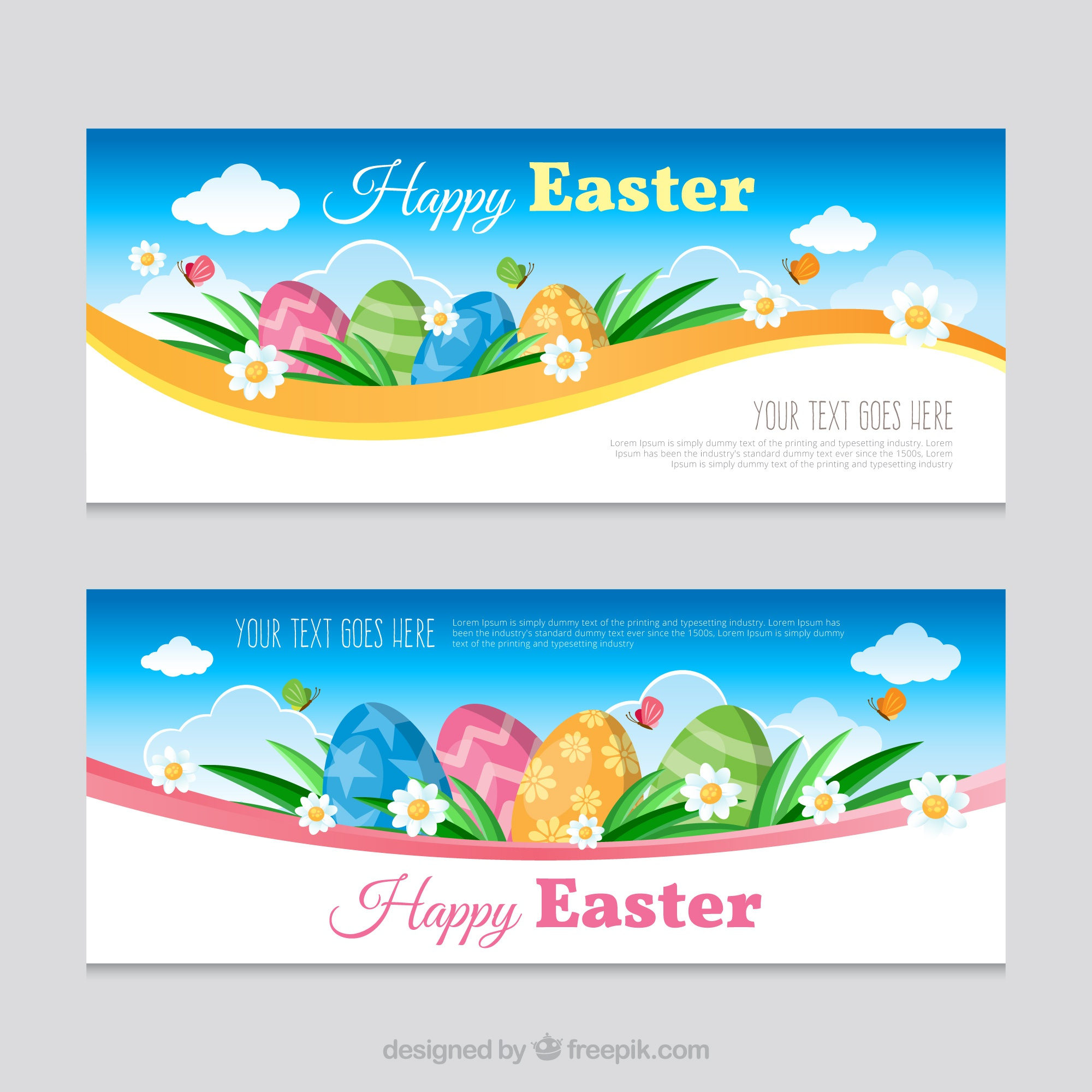 Realistic easter banners with decorative eggs