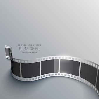 Realistic film reel background in perspective