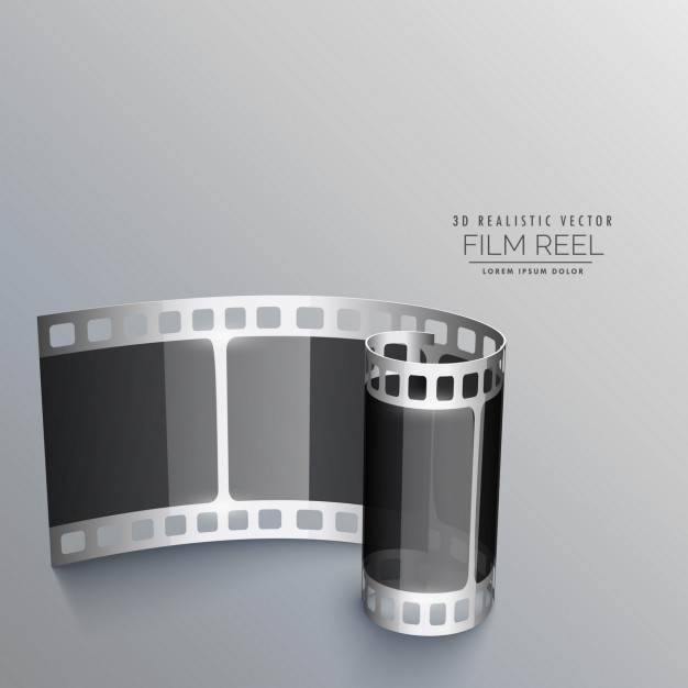 Realistic film roll on a gray background