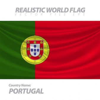 Realistic flag of portugal