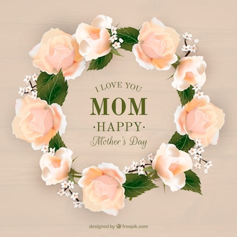 Realistic floral wreath for mother's day